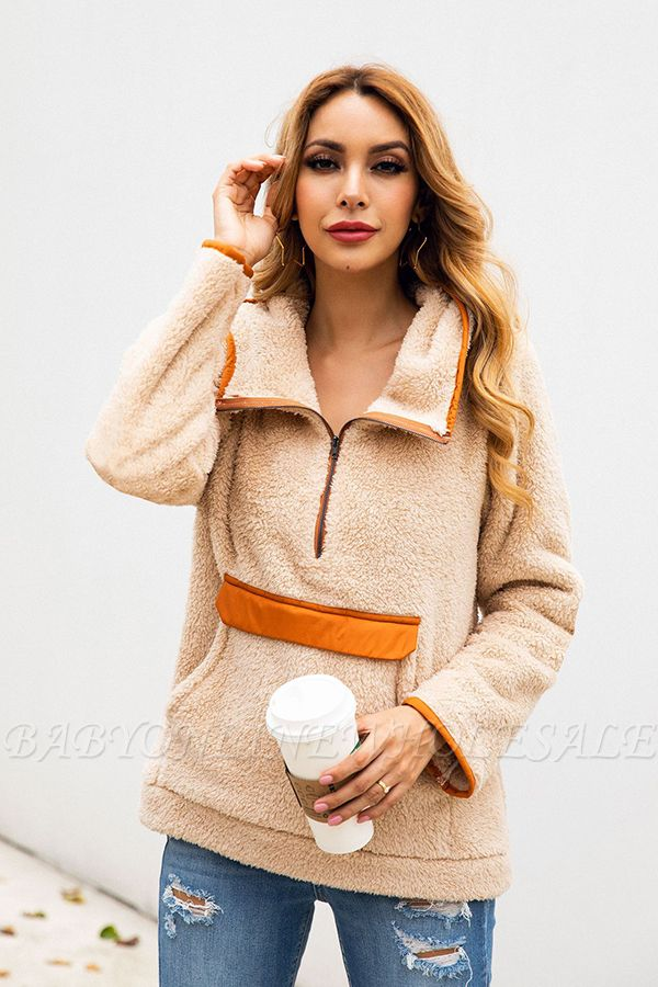 Going out Regular Hooded Fur Coat   Solid Colored Turndown Neck Long Sleeve Faux Fur Pink / Gray / Khaki
