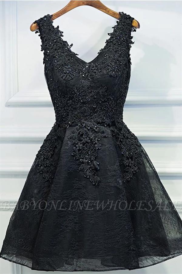 Кружева аппликации дешевое платье возвращения домой Сексуальные маленькие черные платья