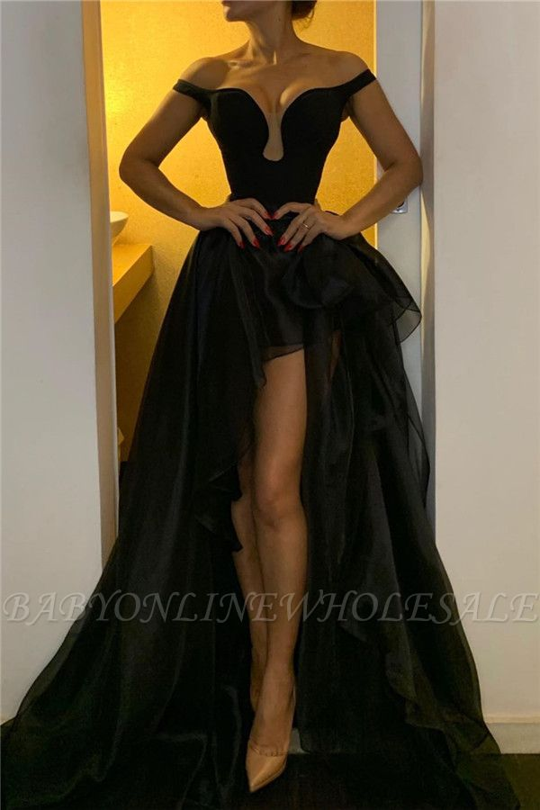 Off The Shoulder Black Evening Dresses for Women | Organza Long Prom Dresses Cheap Online