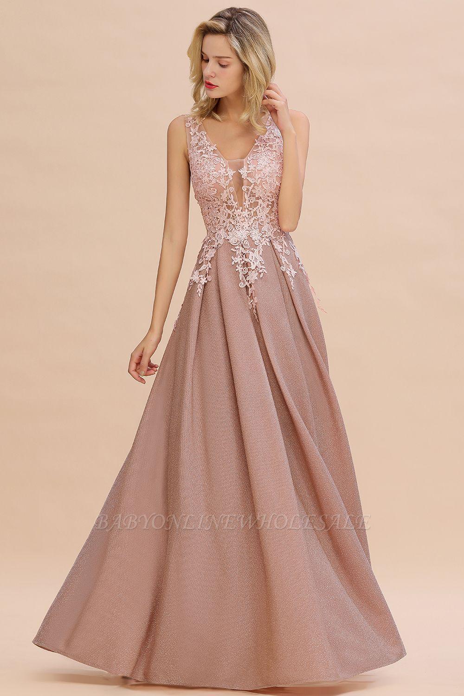 Rebacca | A-Line V-neck Floor-Length Tulle Sequined Prom Dresses