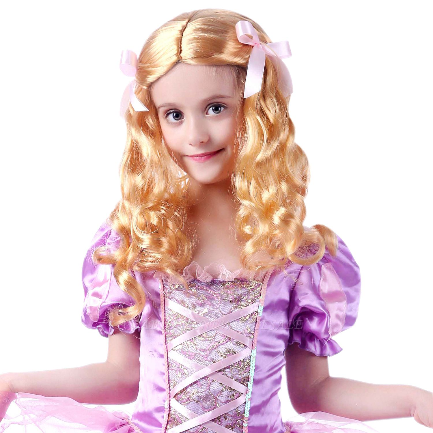 Fashion Blonde Movie Girls Curly Wig for Kids