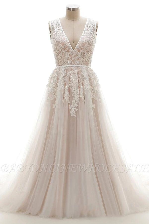 Elegante A-Linie Brautkleid aus Tüll mit Spitzenapplikationen T-Shirt Abendkleid