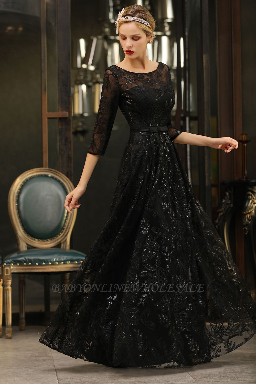 Acacia | Scoop neck Long Sleeves Black Prom Dresses with Sparkly Floral Designs