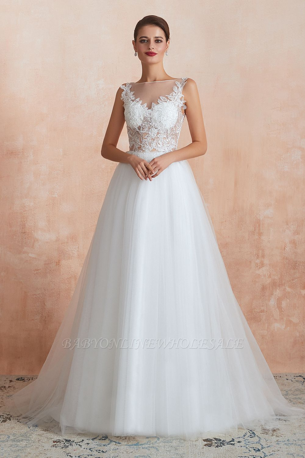 Caltha | Beautiful Bateau neck White Wedding Dress with Sparkling Sequins, Babyonlinedress Design Lace Bridal Gowns