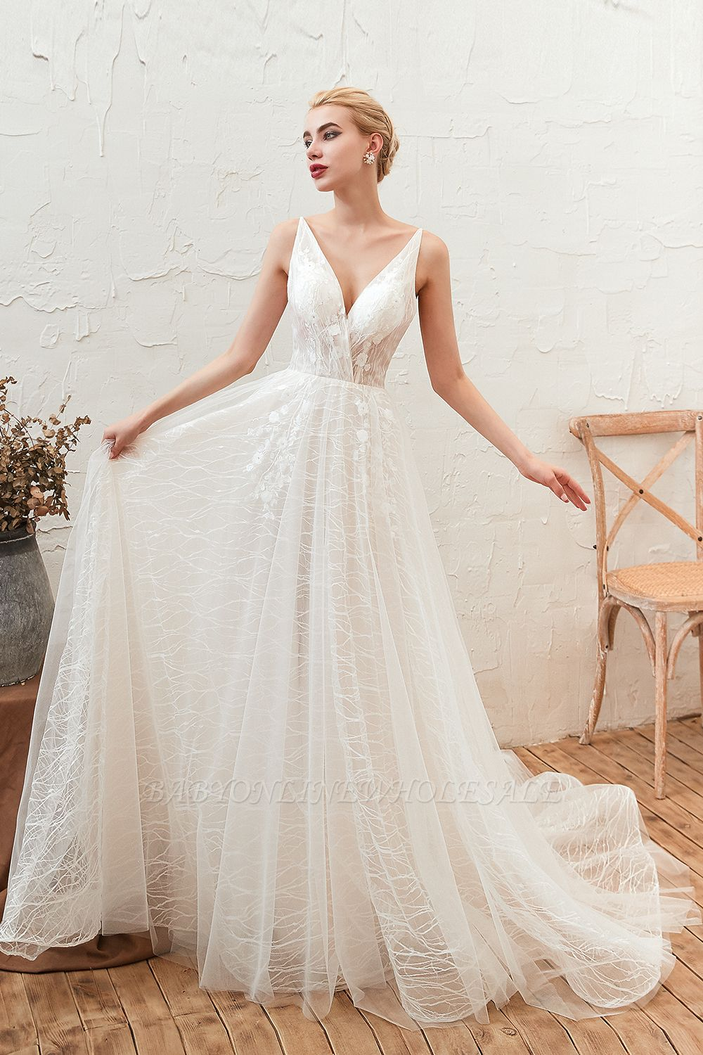 Harlan | Chic Deep V-neck White Tulle Princess Open back Wedding Dress with Court Train