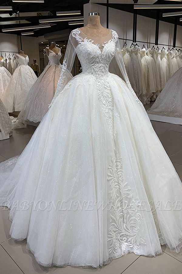 Long Sleeve Ball Gown Sparkle White Wedding Dress Illusion Neck Lace Appliques Bridal Gowns With Cathedral Train Babyonlinewholesale,Plus Size Lace Wedding Dress With Sleeves