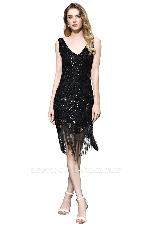 Arda | Vestido de fiesta de cóctel corto con lentejuelas y cuello en V negro