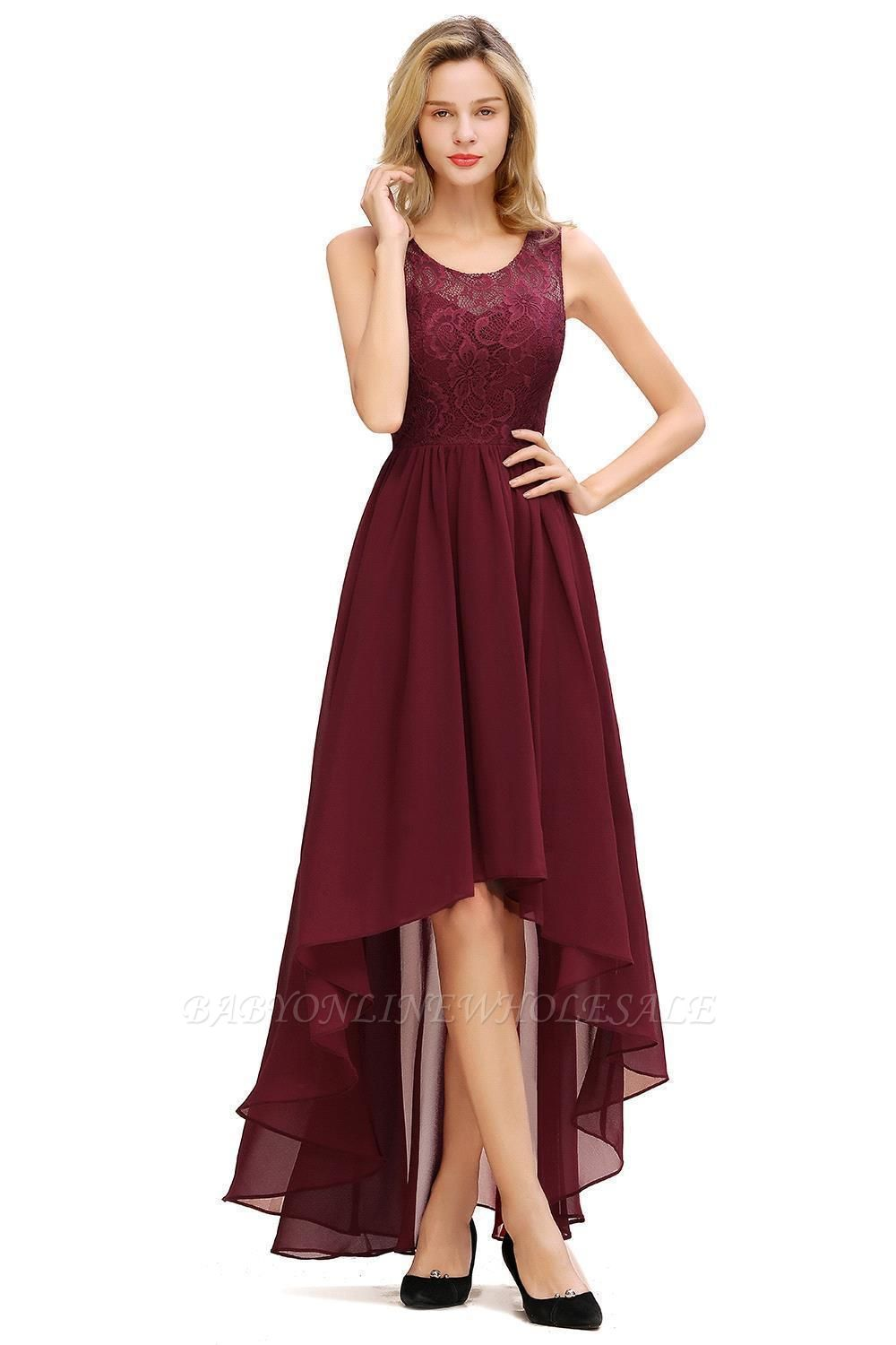 Simple Affordable Sleeveless Burgundy Lace High Low Formal Dress