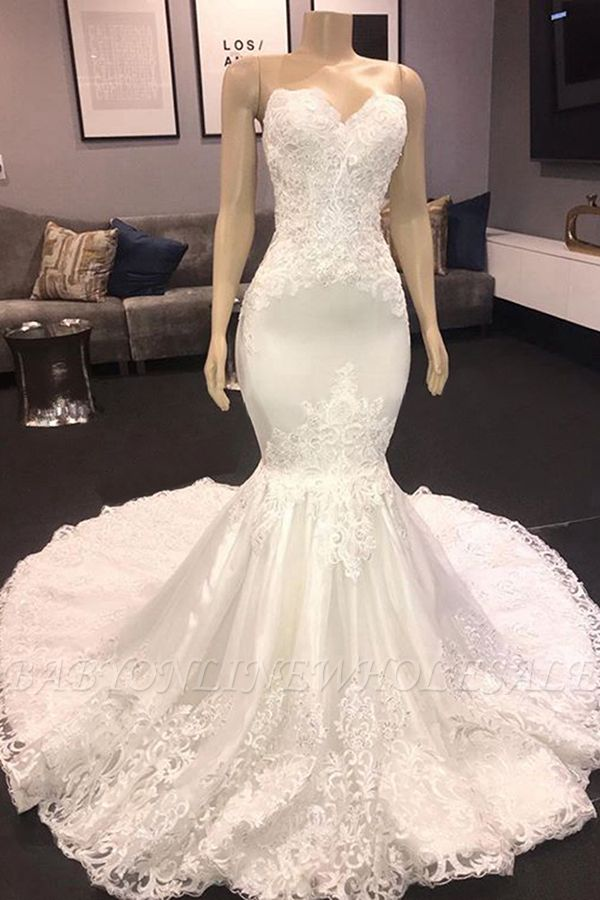 Elegant Mermaid Spring White Wedding Dress | Sweetheart Bridal Gowns with Chapel Train Online