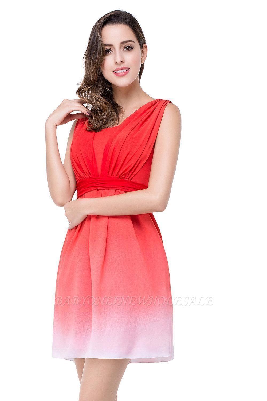 Schlichte Rote A-Linie Brautjungfernkleider | Jewel Brautjungfer Kleid Kurz