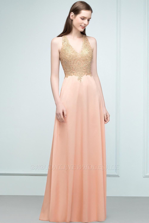 JULIETA | A-line Floor Length V-neck Sleeveless Appliques Chiffon Prom Dresses
