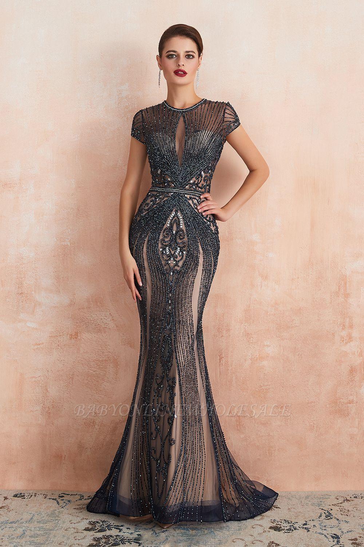 Chloé | Robe de bal en mousseline de soie bleu marine foncé de luxe avec trou clé et manches étincelantes en ligne, belles robes de soirée pour soirée