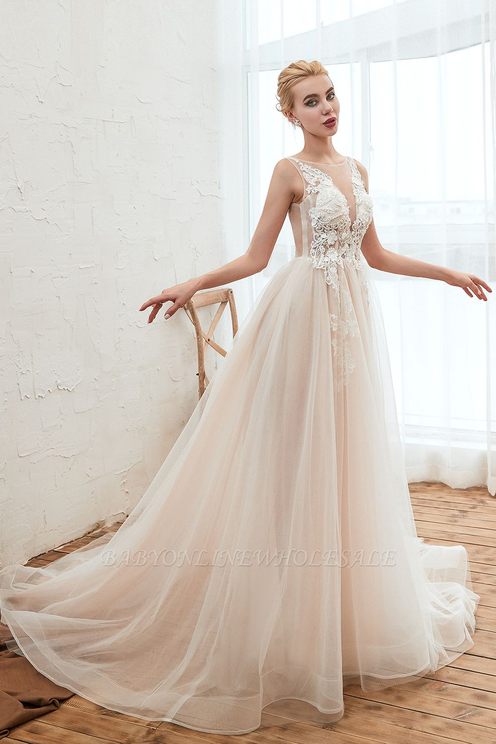 Illsuion neck Champange Wedding Dress with Chapel Train | Sleeveless Summer Bridal Gowns Online