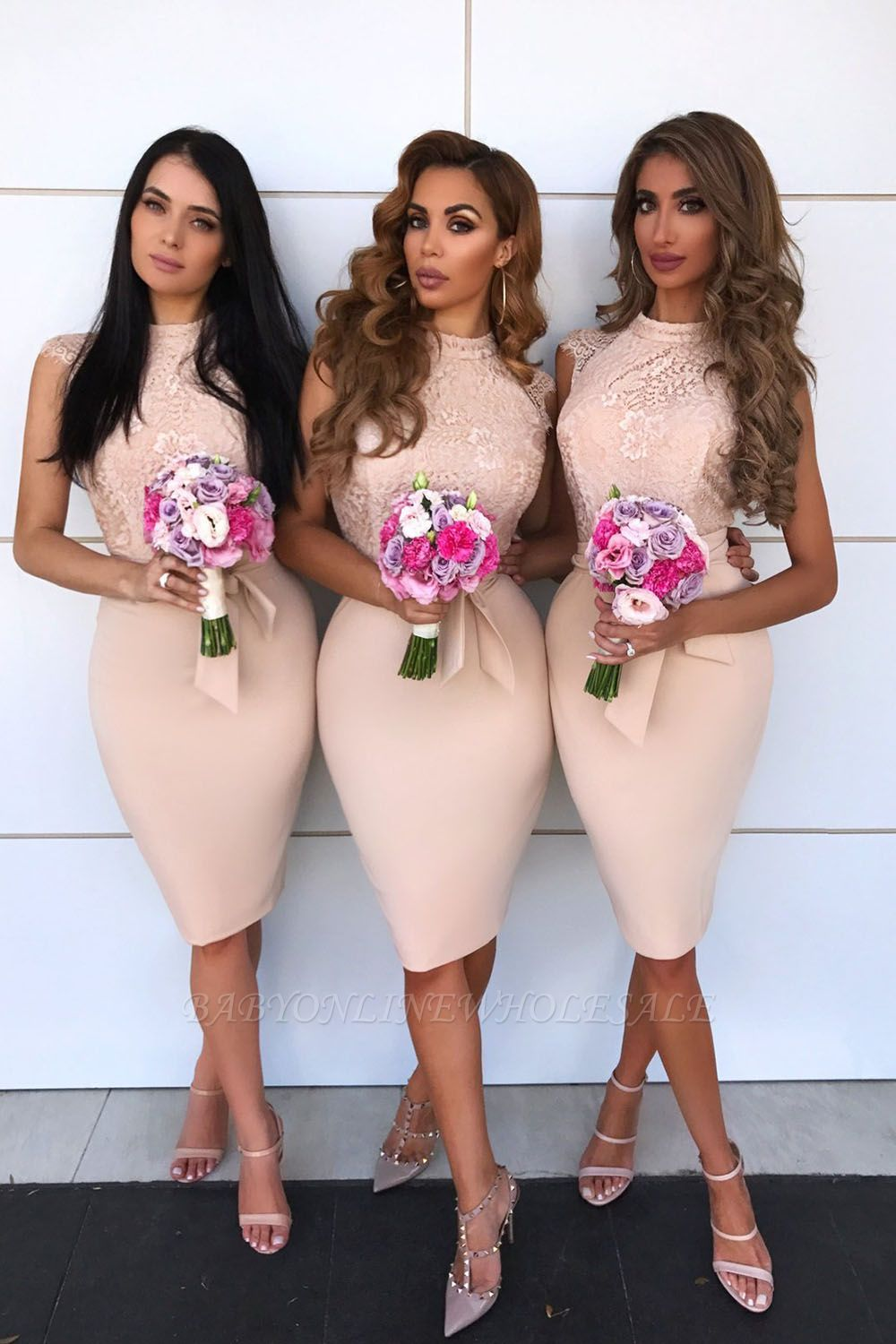 Lace Cap Sleeves Knee Length Bridesmaid Dresses With Short Split At Back | Sheath High Neck Prom Dresses