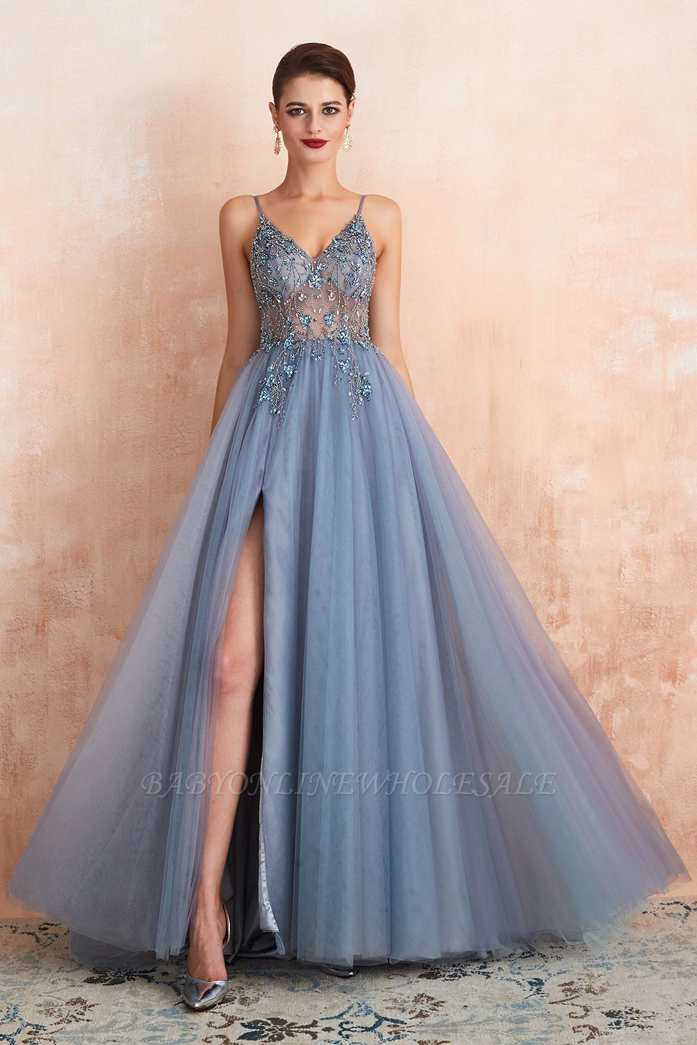 Charlotte | New Arrival Dusty Blue, Pink Spaghetti Strap Prom Dress with Sexy High Split, Cheap Evening Gowns Online