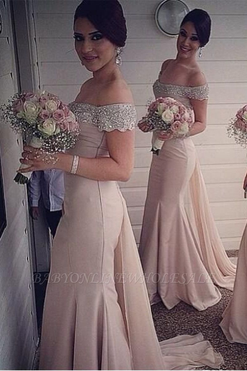 Sexy Crystal Off the Shoulder Mermaid Bridesmaid Dress New Arrival Beadings Long Wedding Party Dress