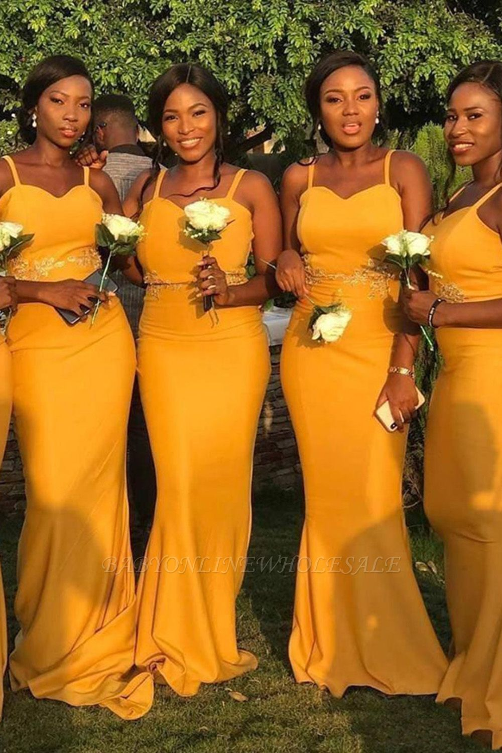 Sheath Sweetheart Neckline Spaghetti Yellow Lace Appliqued Bridesmaid Dresses | Affordable Long Court Train Wedding Party Dresses