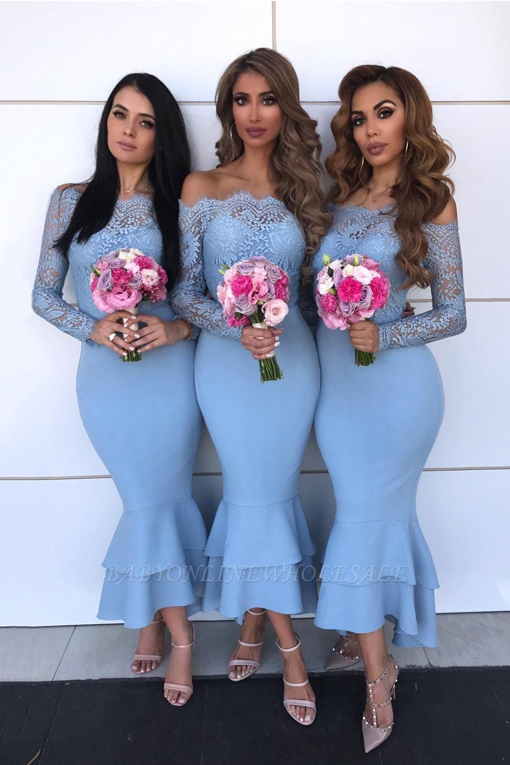 Sexy Mermaid Off-shoulder Lace Appliques Prom Dresses | Elegant Mermaid Ankle Length Wedding Party Dresses