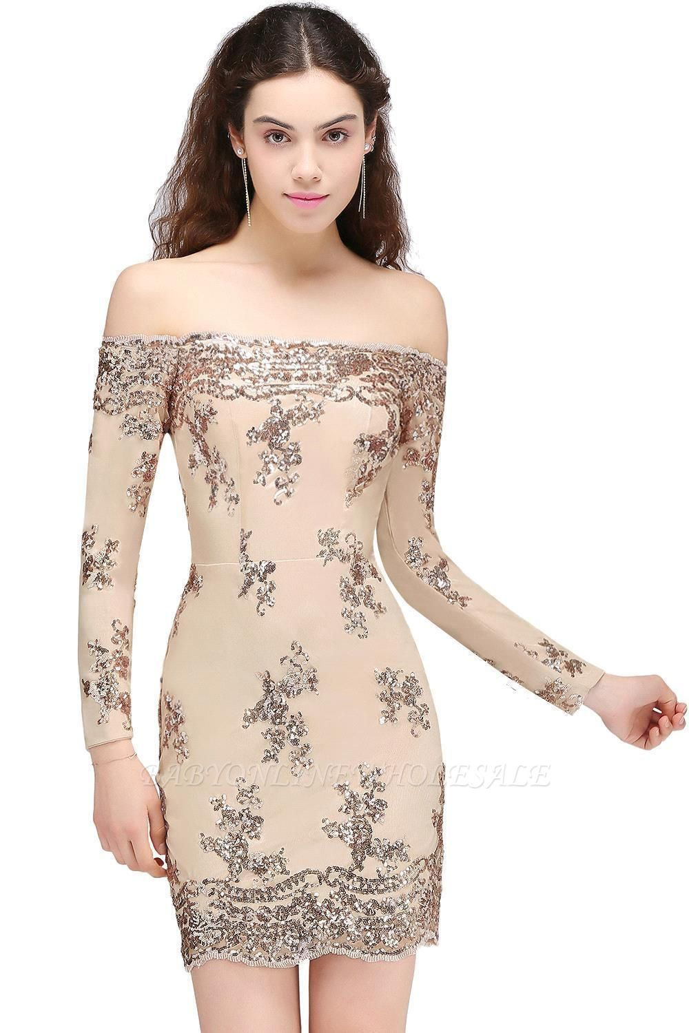CASSANDRA   Sheath Off-the-Shoulder Nude Pink Homecoming Dresses with Sequins