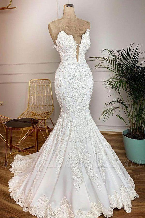 الحبيب يسد الخامس الرقبة حورية البحر أثواب الزفاف الأبيض في نموذج حقيقي مع قطار الدانتيل