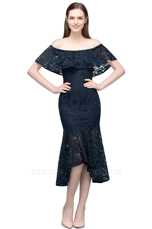 VERENA | Vestidos de fiesta de encaje negro de la longitud del té de la sirena fuera del hombro