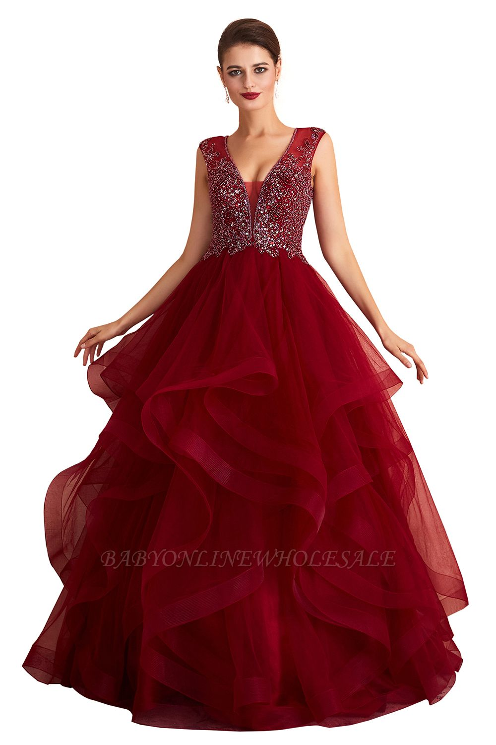Cherise | Wine Red V-neck Sparkle Prom Dress with Muti-layers, Discount Burgundy Sleevleless Ball Gown for Online Sale