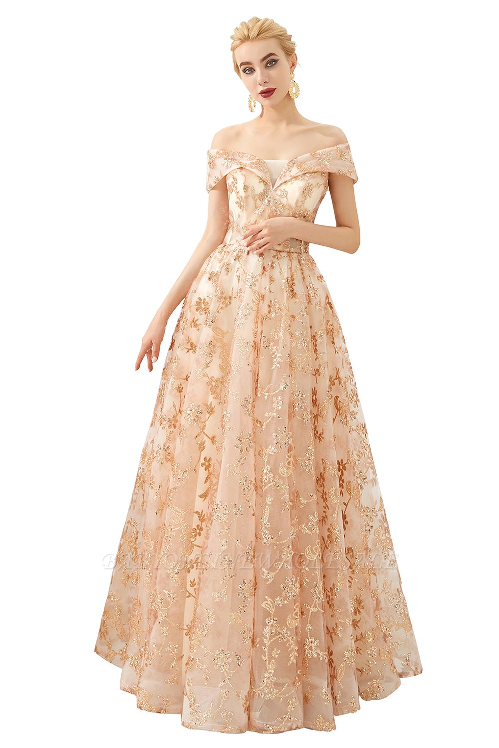 Hale | Romantic Off-the-shoudler Rose Gold Lace-up Tulle Prom Dress with Sparkly Appliques