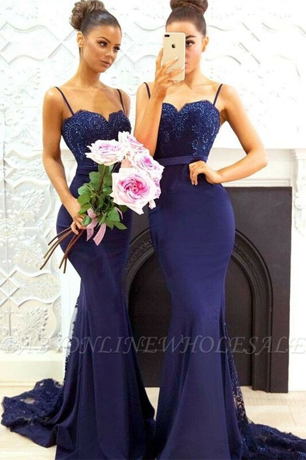 Elegant Dark Navy Bridesmaid Dresses | Spaghettis Straps Lace Prom Dresses