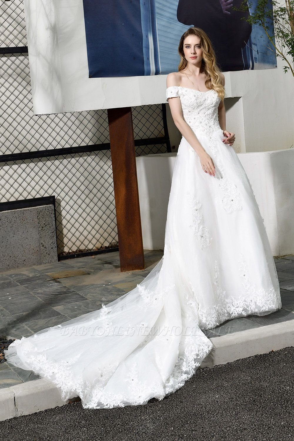 Elegant White Lace Off Shoulder Long Princess Wedding Dress with Beaded Lace Appliques