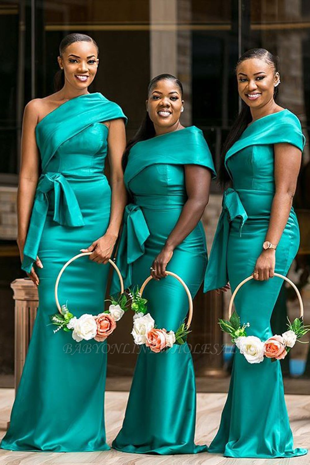 Elegant One-Shoulder Green Sweep Train Bridesmaid Dress With Belt Decoration | Green Long Length Gowns