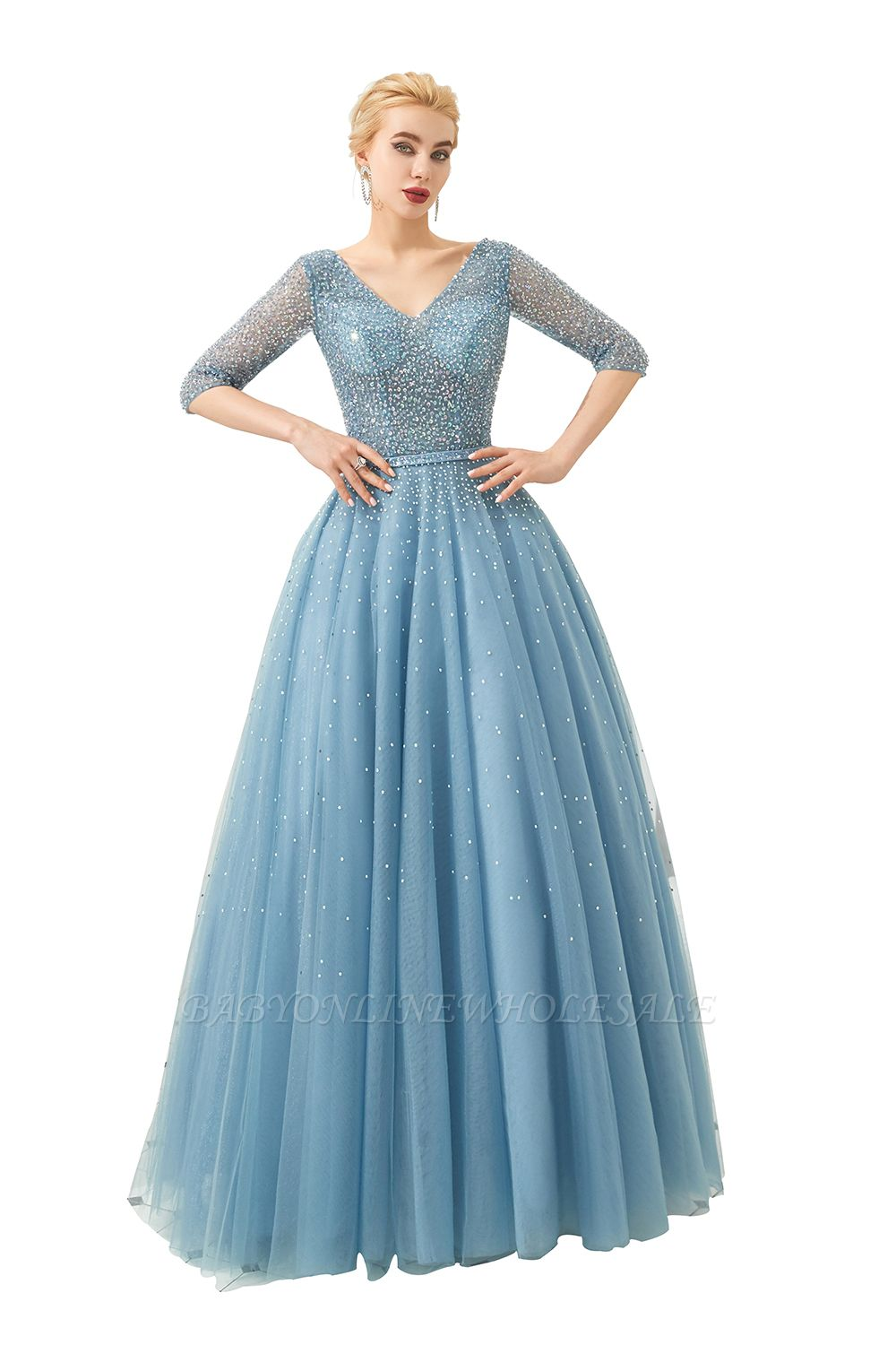Harold | Discount V-neck Fully beaded 2/3 sleeves A-line Tulle Long Prom Dress