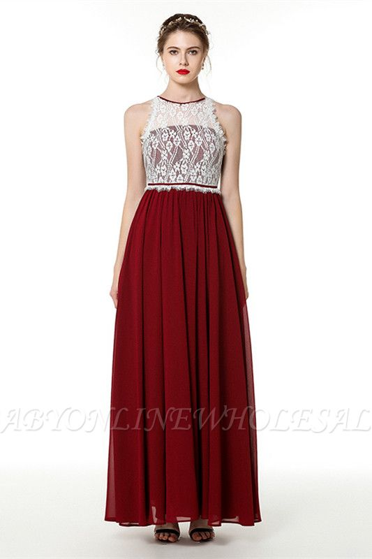 Trendy two-toned High neck Burgundy Formal Dress with soft pleats | High neck white lace Evening Dress