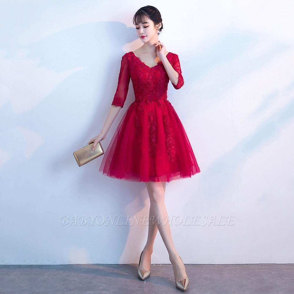 MARGE   A-line V-образным вырезом Half Sleeves Tulle Appliques Homecoming Dresses