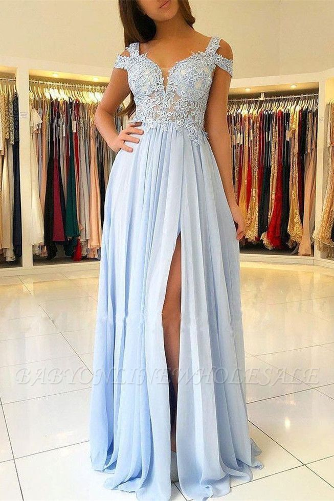 Elegant Off-the-shoulder Low Back Prom dresses with Sexy High Split | Ligh Sky blue Evening Gowns with Lace appliques