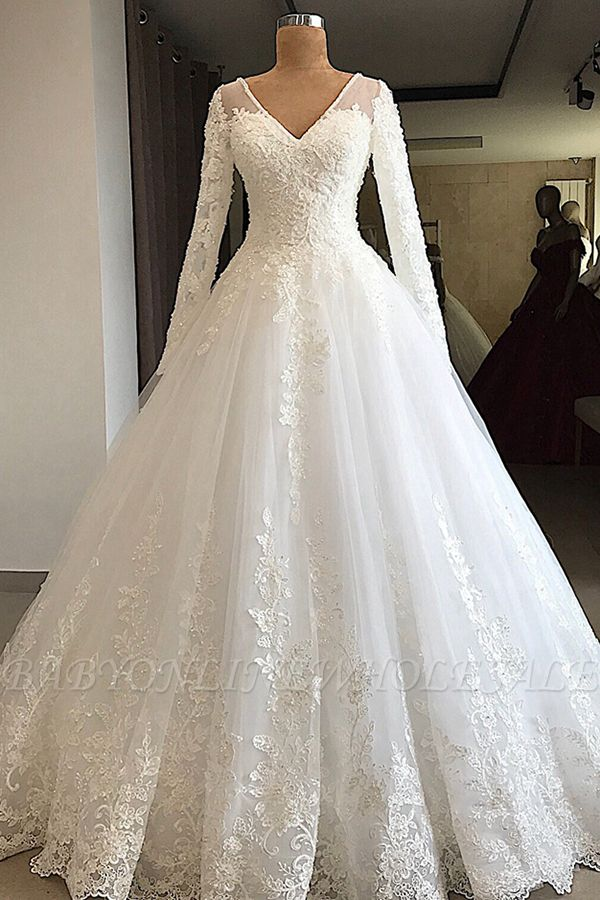 Gorgeous V-neck Long Sleeve Lace Wedding Dress | Babyonlinedress White Princess Bridal Gowns Online