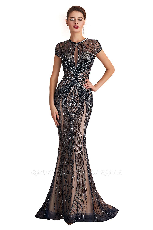 Chloe | Luxus Dark Navy Cap Sleeve Schlüsselloch Sparkle Prom Kleid Online, schöne Champange Kleider für die Abendgesellschaft
