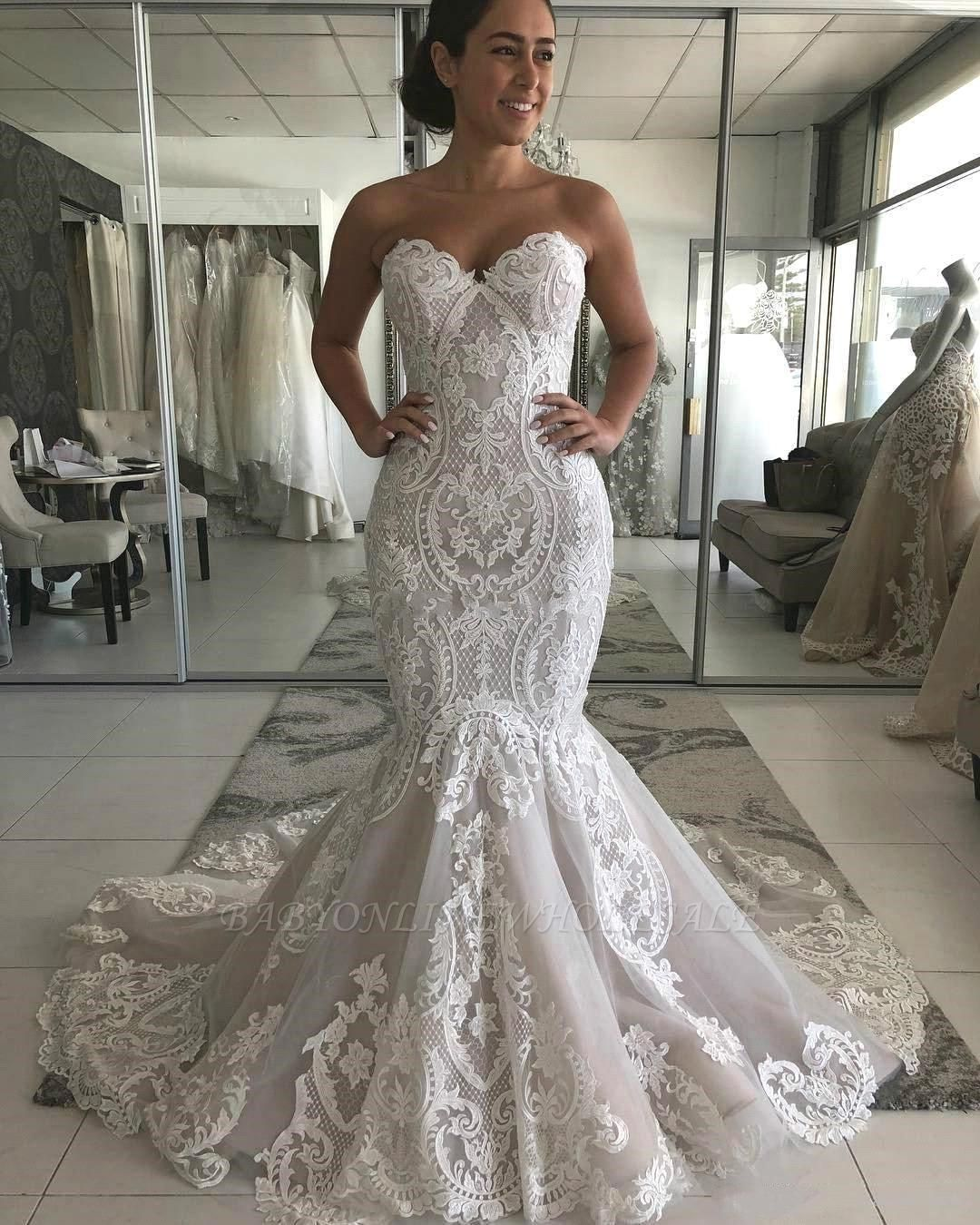 Expensive Sweetheart Mermaid Lace Appliques Low Back Long Wedding Dress with Chapel Train