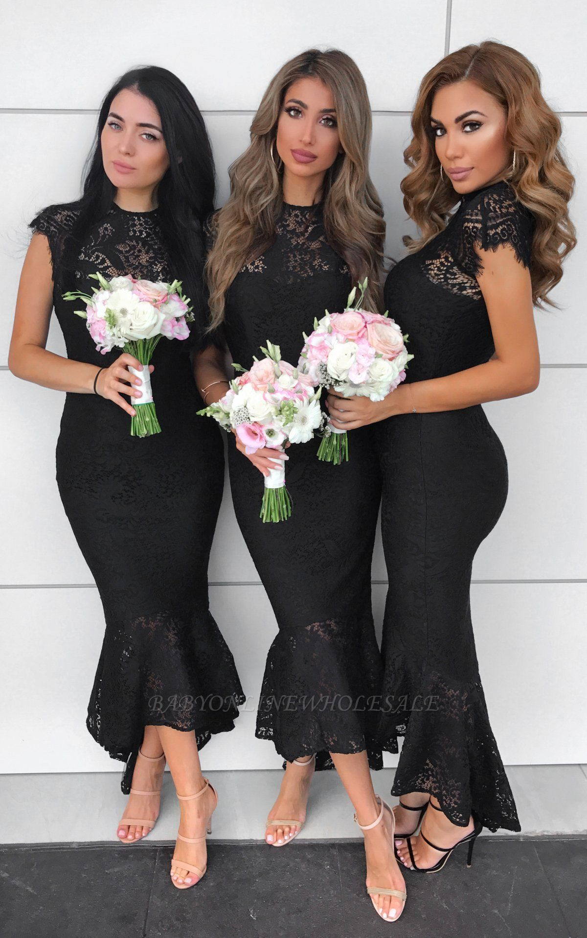 Elegant Mermaid Lace Dress With Cap Sleeves At Ankle Length | Sheath Prom Dresses Zipper Up