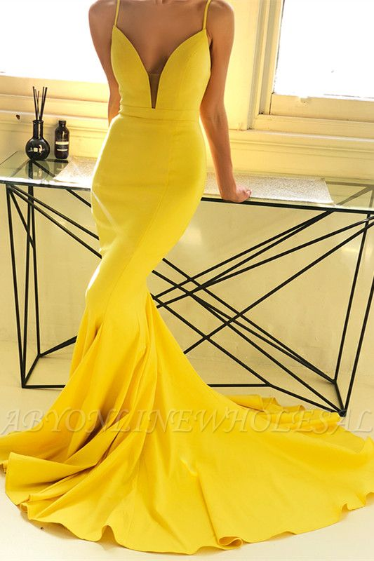 Ginger Yellow Deep V-neck Prom Dress with Chapel Train | Sexy Simple Body-fitting Evening Dress for Sale