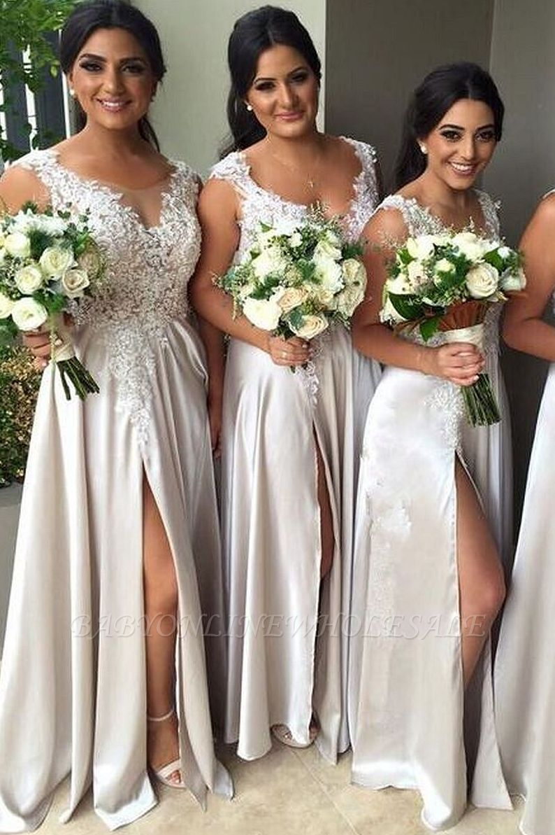 Sexy Lace Appliques Front Split Bridesmaid Dress A-line Floor-length