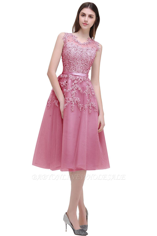 EMORY   A-Line Crew Tea Length Lace Appliques Short Prom Dresses