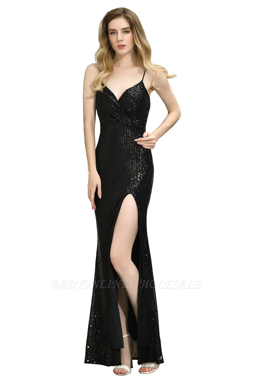 Ardell | Sexy Black Emerald Sequined High Slit Prom Dress Online