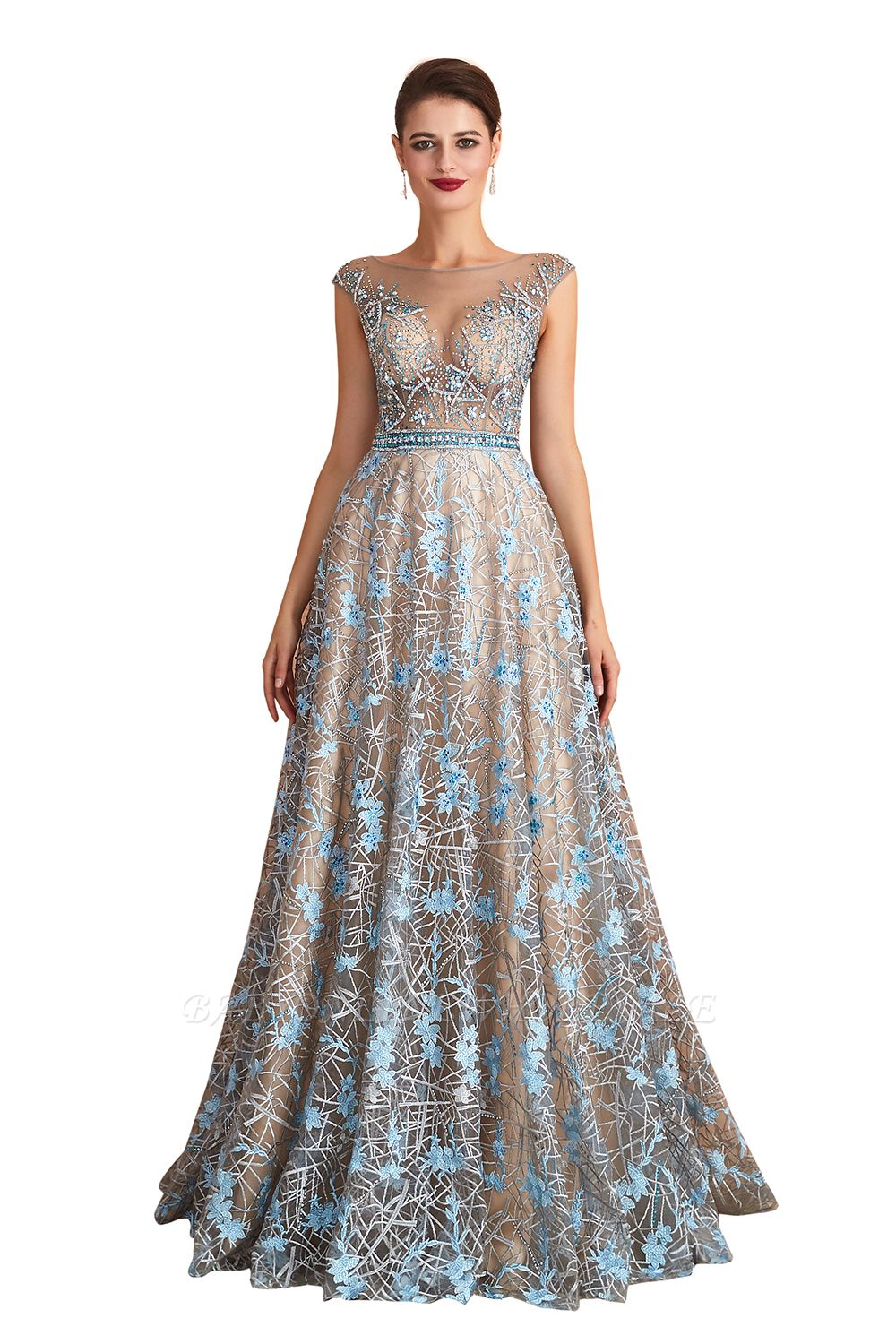 Celandine | Expensive Cap Sleeve See-through Prom Dress with Sky Blue Appliques, Unique Luxury Design Long Evening Dress Online