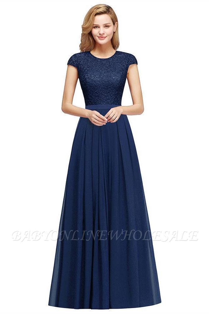 Adah | Günstige Dark Navy Rundhals Cap Sleeve Lace Formal Dress, Pink, Dunkelgrün
