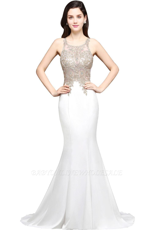AVERIE   Mermaid Scoop en mousseline de soie élégante robe de bal avec des appliques