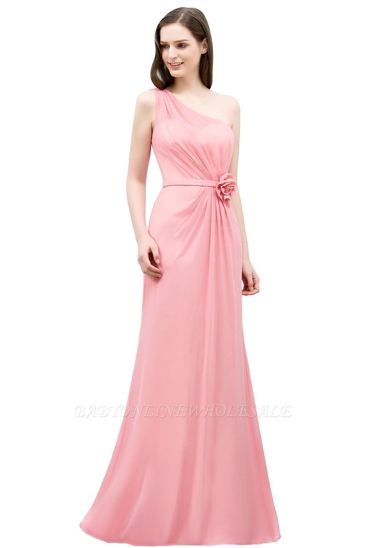 SHERA | Longueur de plancher sirène une épaule à volants en mousseline de demoiselle d'honneur robes avec fleur