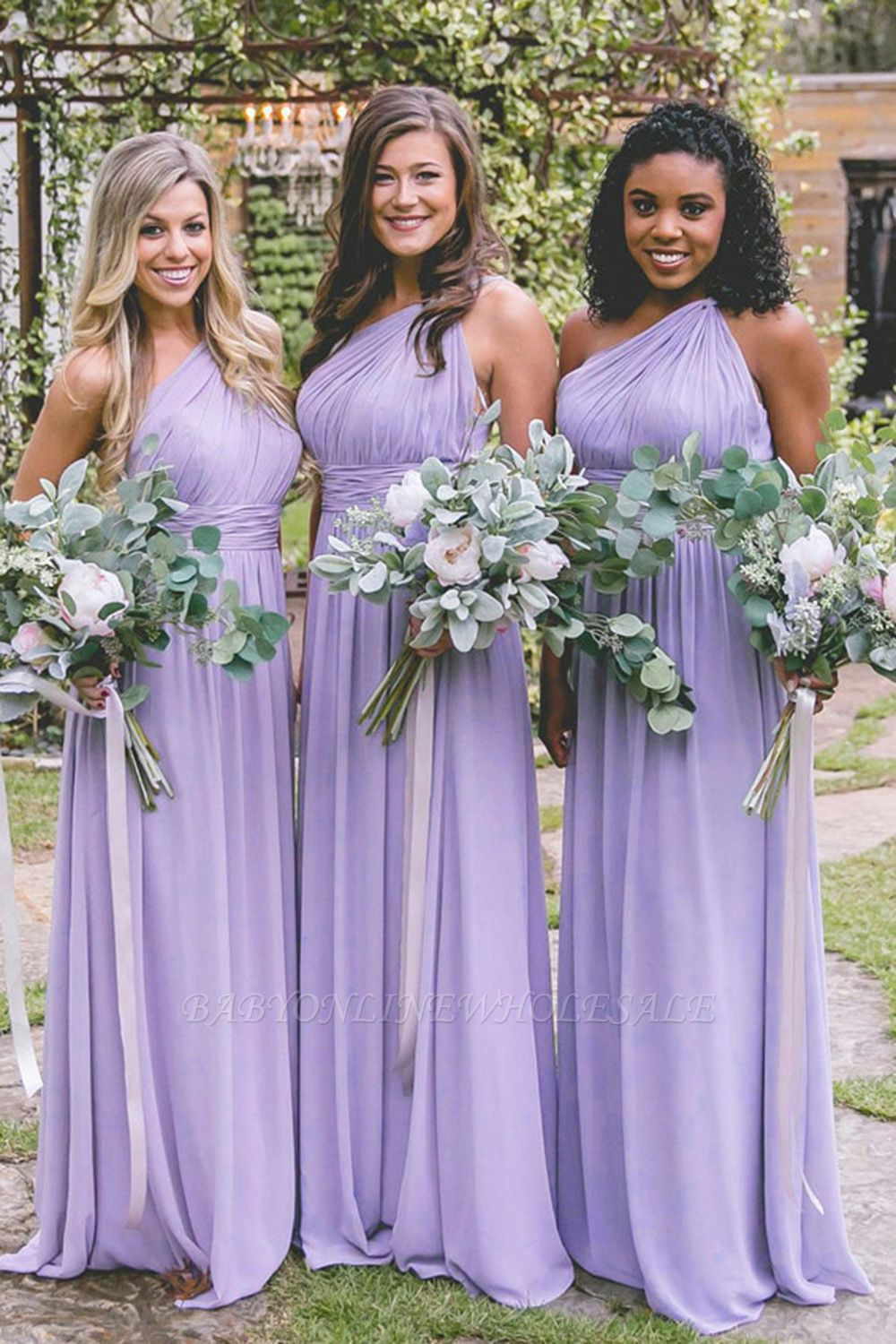 New One-Shoulder Fit Lavender Purple Floor Length Bridesmaid Dresses | Elegant Sleeveless Long Maid Of Honor Dresses