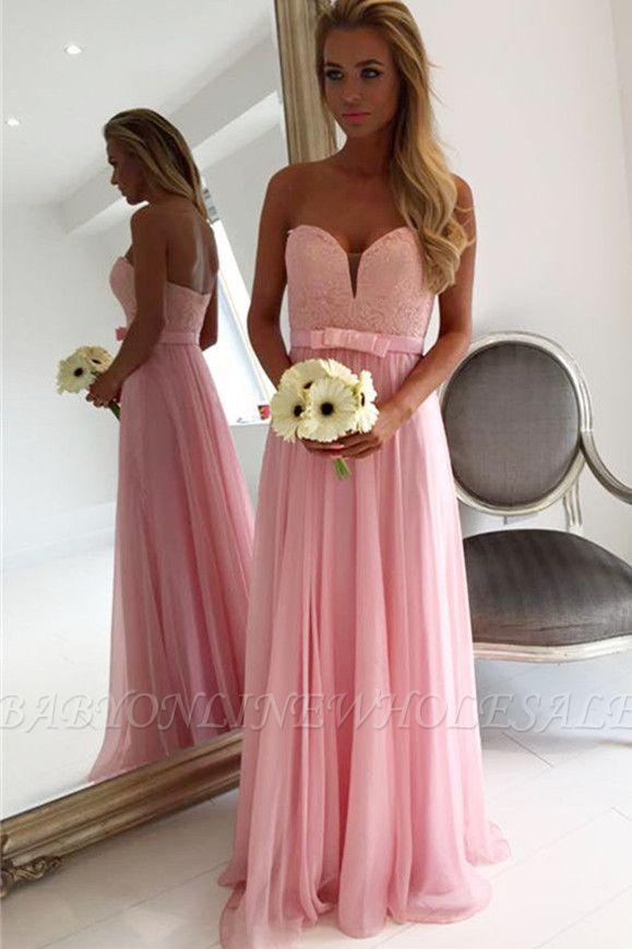 Sweetheart Pink Lace Chiffon Bridesmaid Dresses | Open Back Blowknot Maid Of Honor Dress