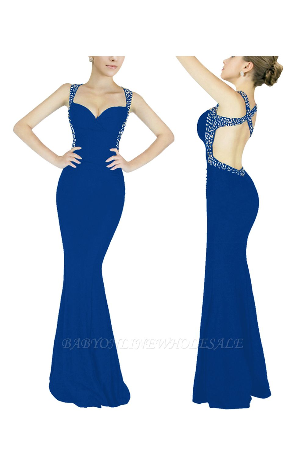 Ceci | Criss-cross Back Mermaid Prom Dress with Beaded Straps
