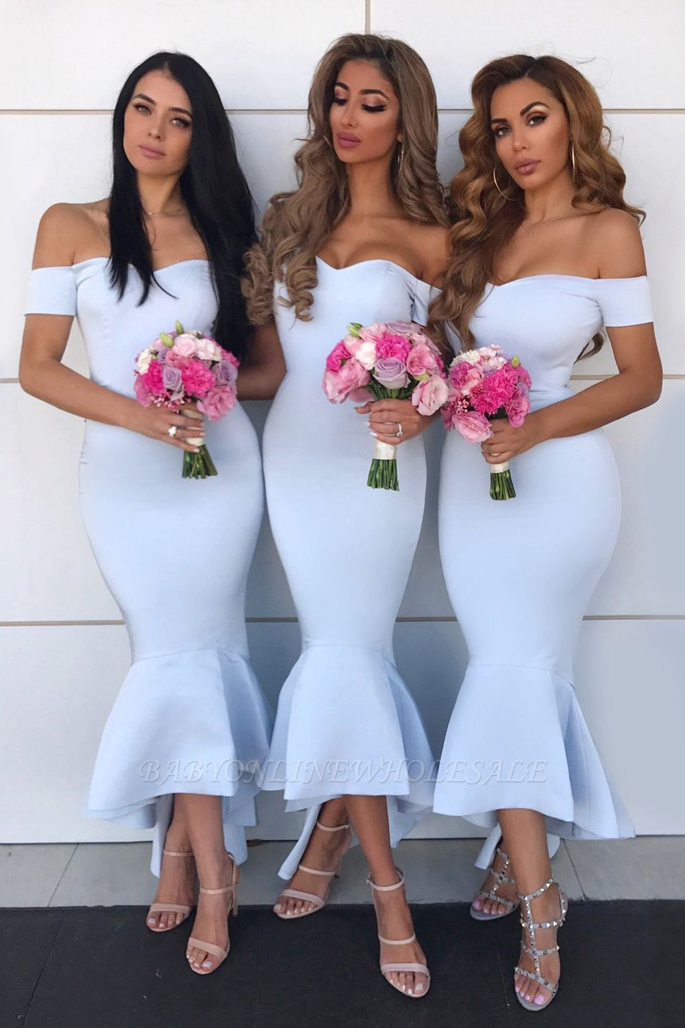 Sexy Open Back Sweetheart Neckline Meimaid Bridesmaid Dresses |Off-shoulder Ankle Length Wedding Party Gowns